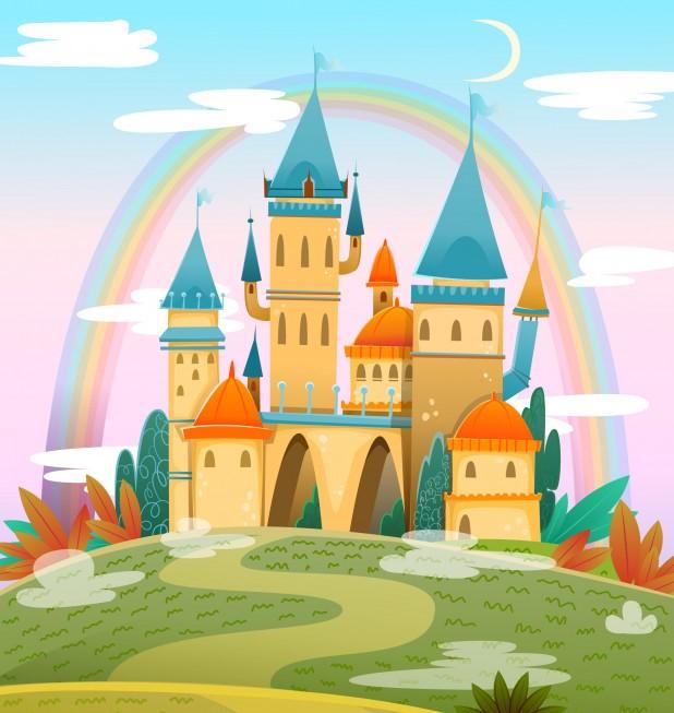 cute-cartoon-castle-fairytale-cartoon-castle-fantasy-fairy-tale-palace-with-rainbow-vector-illustration_131476-35